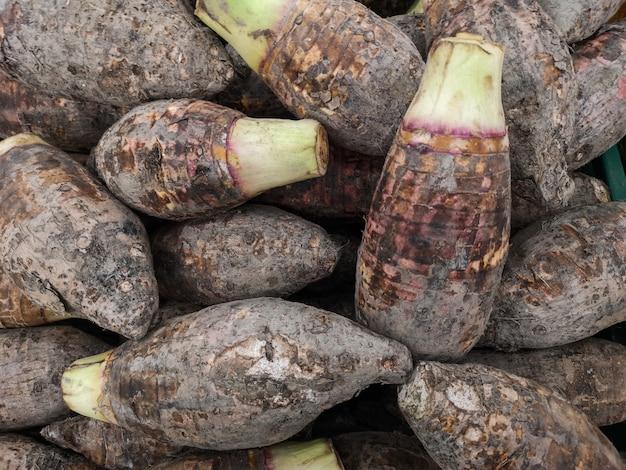 Taro fresco para a venda no mercado.