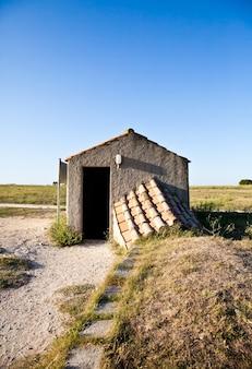 Tarquinia, itália. esta é a entrada de uma tumba etrusca (por volta de 470 ac) por meio de um corredor estreito que leva para baixo da escada, tem-se acesso ao cemitério retangular.