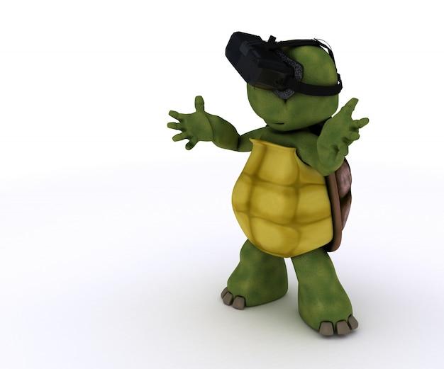 Tartaruga que joga com um óculos de realidade virtual