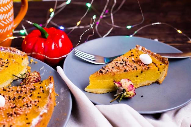 Tarte de abóbora tradicional torta saborosa de ação de graças.