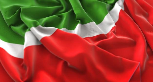 Tatarstan flag ruffled beautifully waving macro close-up shot