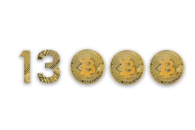 Taxa de câmbio de 13000 bitcoin, isolada. estilo de moeda criptografia para o projeto.