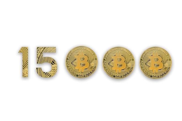 Taxa de câmbio de 15000 bitcoins, isolada. estilo de criptomoeda para design.
