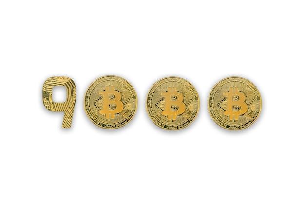 Taxa de câmbio de 9000 bitcoins, isolada. estilo de criptomoeda para design.