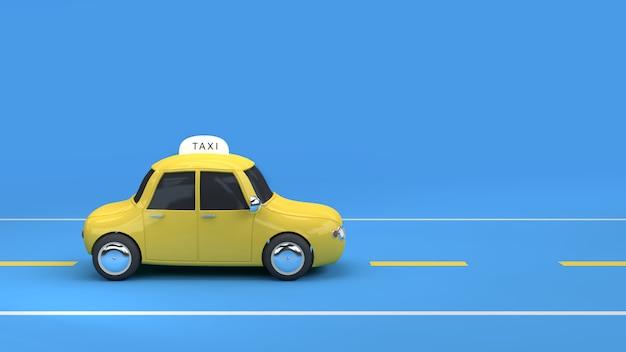 Táxi amarelo na renderização 3d de fundo azul de estrada