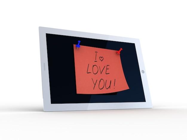 Te amo texto na tela do tablet