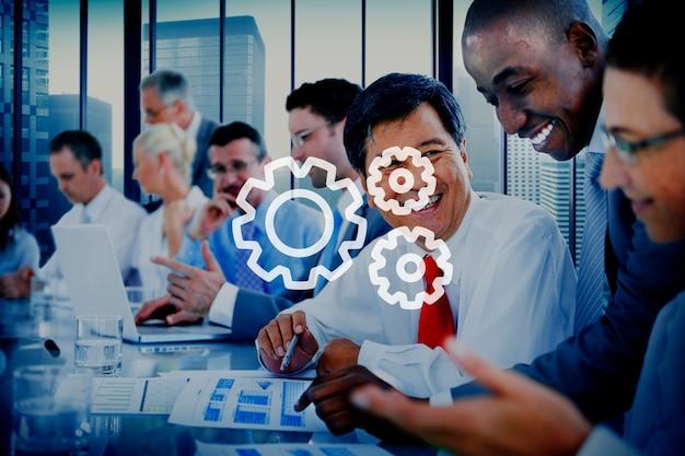 Teamwork team collaboration conexão gear organização