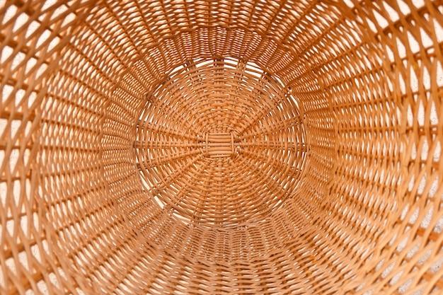 Tecelagem de vime e taboa feita à mão em círculo textura rural natural e ecológica