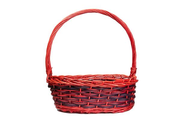 Tecer cesta com traçado de recorte no fundo branco