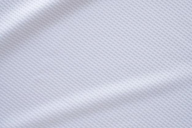 Tecido branco de roupas esportivas, camisa de futebol, jersey, textura, abstrato, fundo