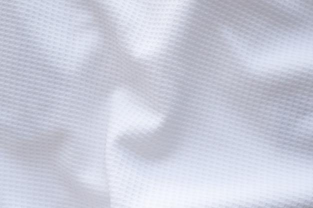 Tecido branco de roupas esportivas, camisa de futebol, jersey, textura, fundo