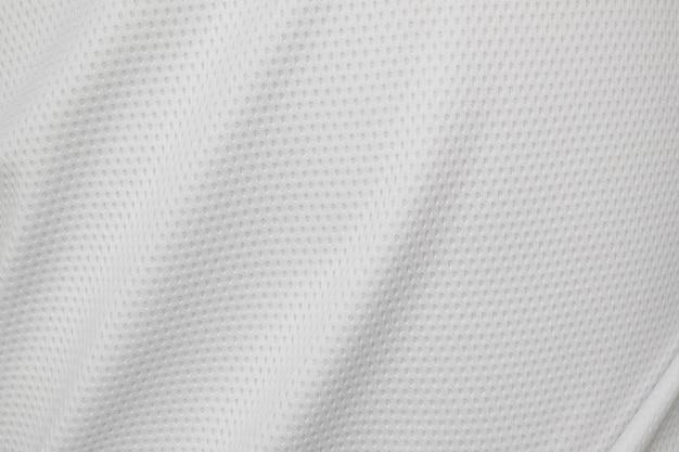 Tecido branco de roupas esportivas, camisa de futebol, textura de fundo de jersey