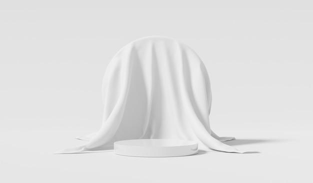 Tecido branco e suporte de fundo de produto ou pedestal de pódio em display promocional com cenários em branco. .