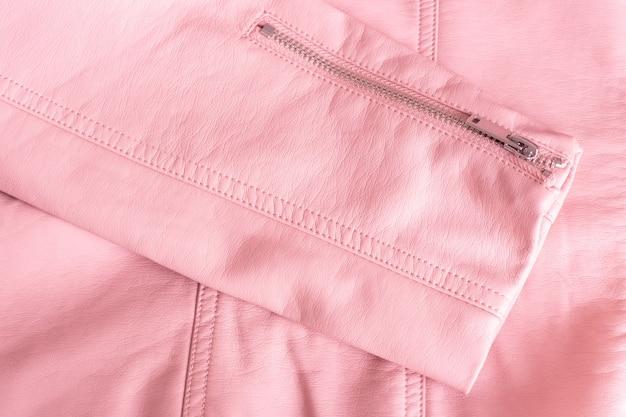 Tecido de couro rosa, detalhe de jaqueta feminina