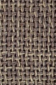 Tecido de lona marrom com textura, textura de saco