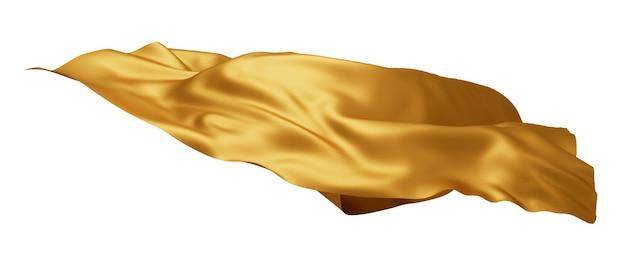 Tecido de luxo dourado voando no vento isolado no branco
