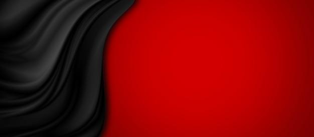 Tecido de luxo preto sobre fundo vermelho, com espaço de cópia