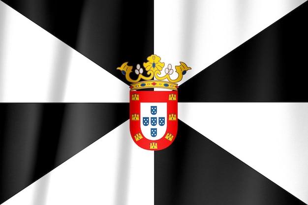 Tecido de pano de bandeira de ceuta acenando na parte superior