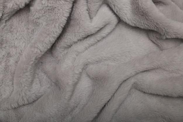 Tecido de pele de fábrica fofo macio e delicado superfície cinza falso
