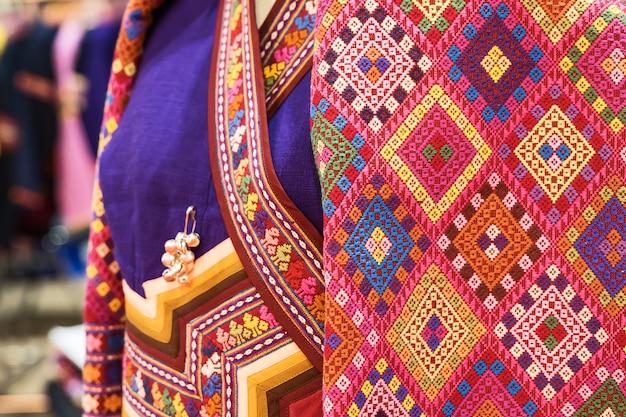 Tecido de seda padrão tailandês.