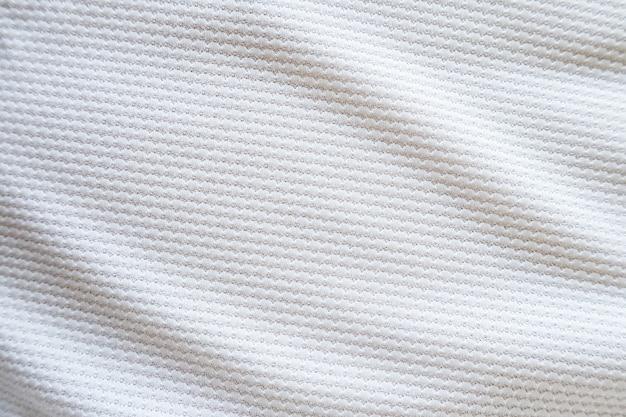 Tecido de tecido de camisa de futebol branco, textura, esportes, fundo, close-up