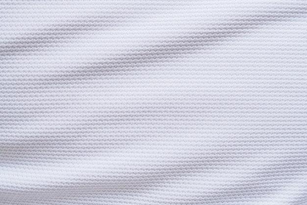 Tecido de tecido de camisa de futebol branco, textura, esportes, plano de fundo, close-up