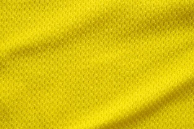 Tecido de tecido de camisa de futebol de cor amarela, esportes, plano de fundo, close-up