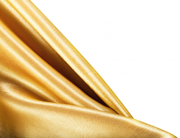 Tecido dourado isolado no branco
