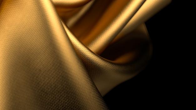 Tecido dourado trançado com profundidade de campo rasa