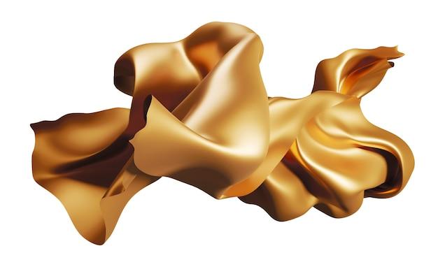 Tecido dourado voando no vento isolado em renderização 3d branca