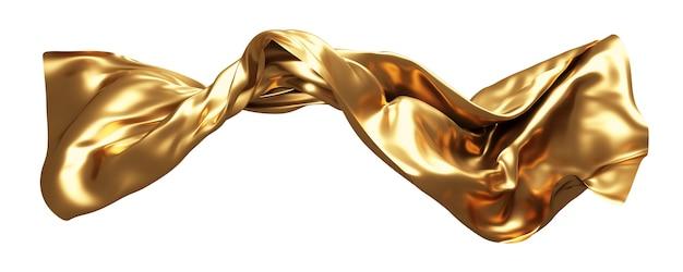 Tecido dourado voando no vento isolado no fundo branco renderização 3d