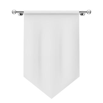 Tecido em branco da bandeira maquete em um fundo branco. renderização 3d