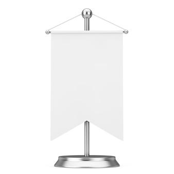 Tecido tecido branco branco maquete vazio da bandeira com espaço livre para seu projeto no suporte do pináculo de aço em um fundo branco. renderização 3d