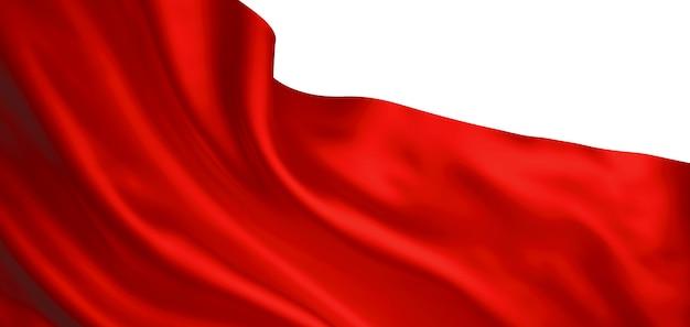 Tecido vermelho isolado em fundo branco 3d render
