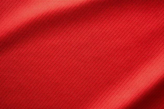Tecido vermelho para roupas esportivas, textura de malha de futebol