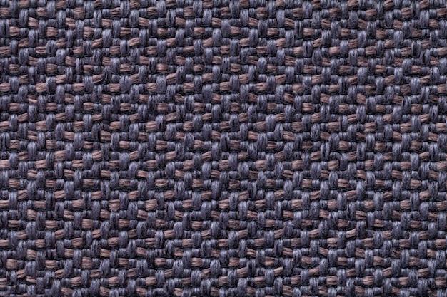 Tecido vintage azul e marrom com textura de tecido fundo macro de têxteis