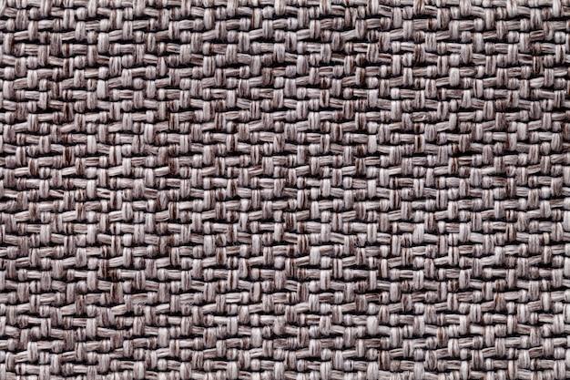 Tecido vintage marrom com textura de tecido têxtil fundo macro,
