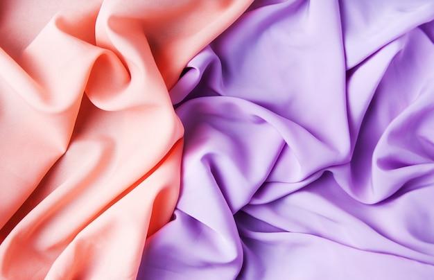 Tecidos rosa e roxo
