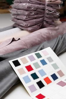 Tecidos rulelon, amostras de tecido na produção de costura