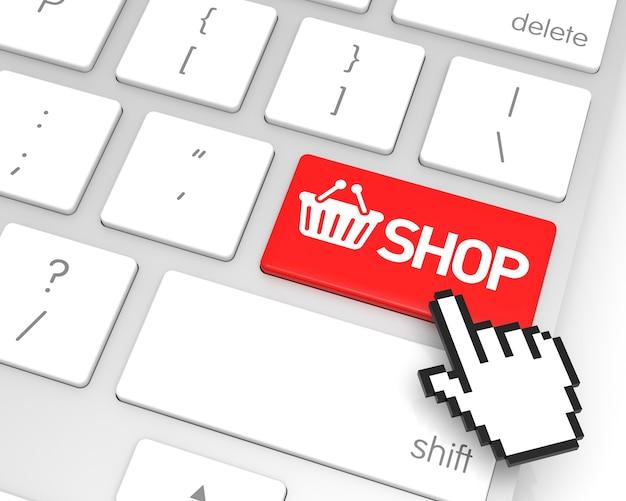 Tecla de entrada da loja com cursor de mão. renderização 3d