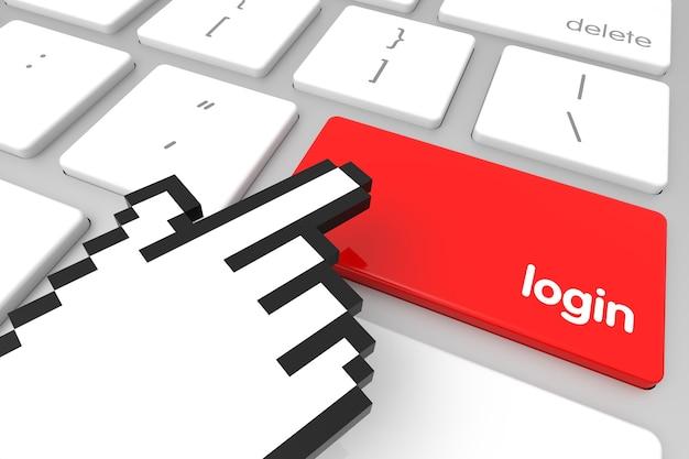 Tecla de entrada de login vermelha com cursor de mão. renderização 3d