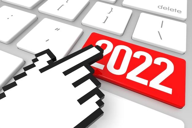 Tecla enter 2022 vermelha com cursor de mão. renderização 3d