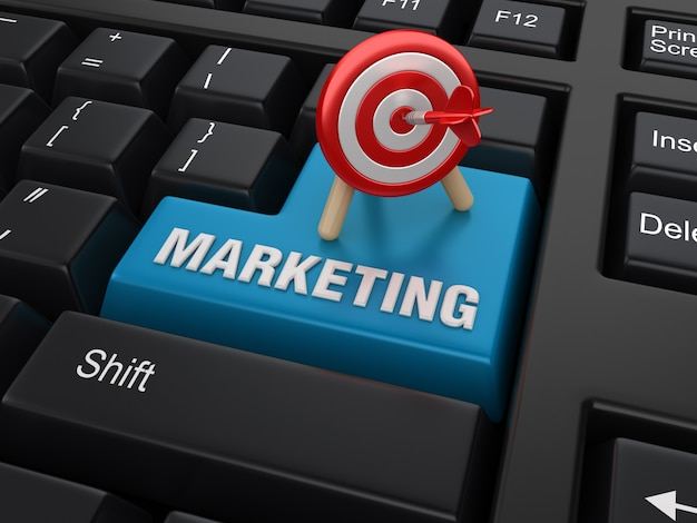 Tecla enter com destino e palavra de marketing