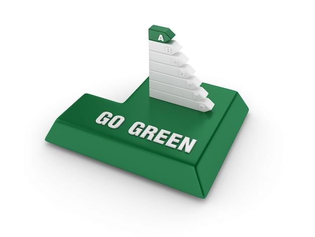 Tecla enter com diagrama de eficiência energética e palavras verdes