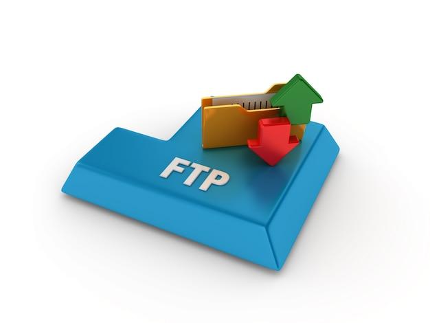 Tecla enter com pasta do computador e palavra ftp
