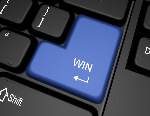 Teclado 3d com botão de vitória
