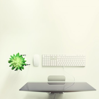 Teclado branco, rato, planta suculenta na mesa branca.