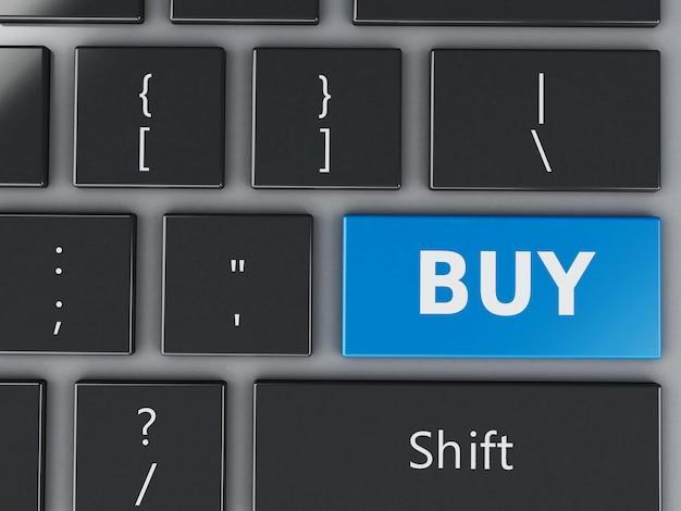 Teclado de computador 3d com botão comprar