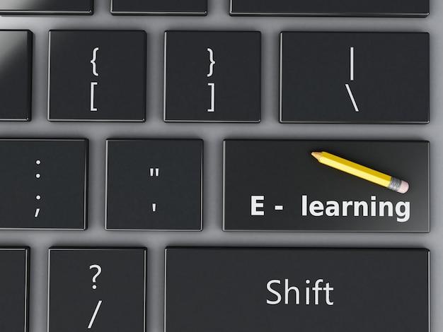 Teclado de computador 3d. conceito de educação.