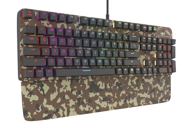 Teclado de computador colorido de camuflagem com cor rgb isolado no branco